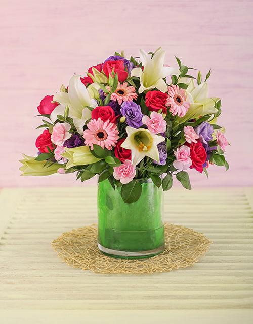 anniversary: Pink and Mauve Flower Arrangement!