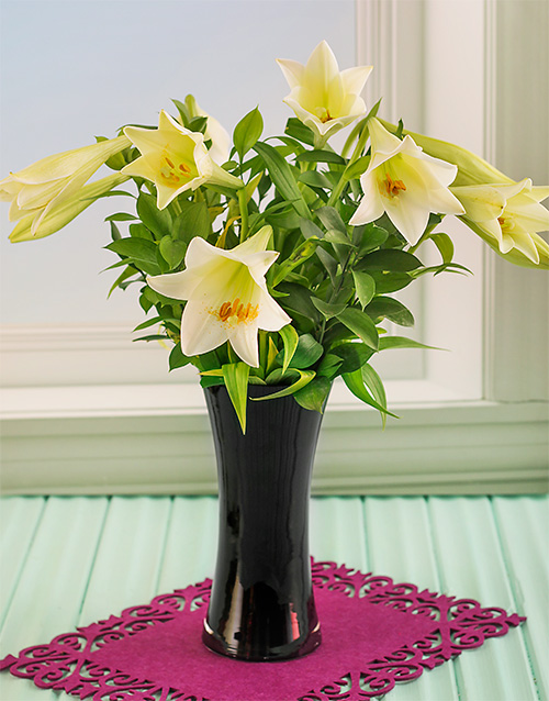 colour: St Joseph Lilies in a Black Vase!