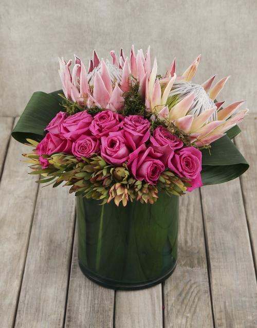 colour: King Protea and Rose Arrangement in Cylinder Vase!