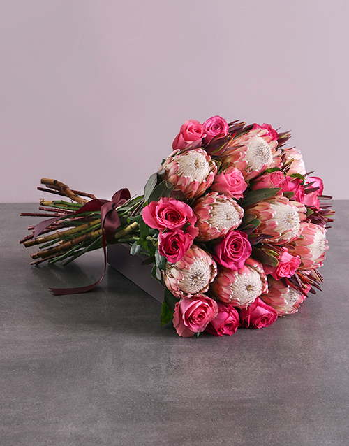 birthday: Mixed Rose and Protea Bouquet!