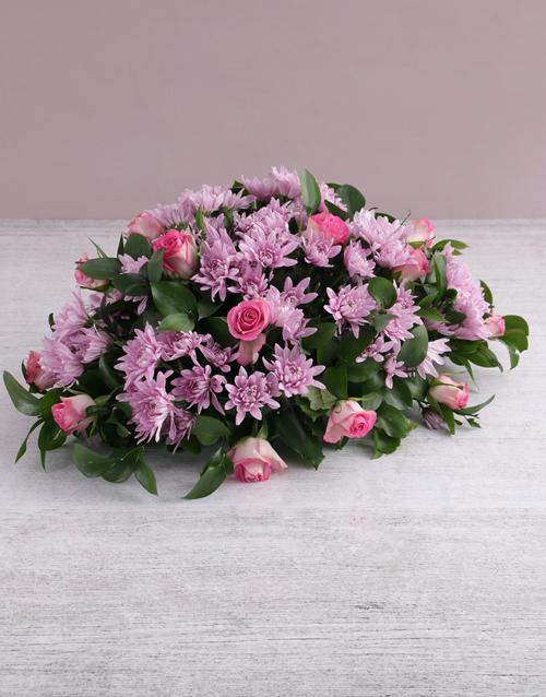 colour: Pink Roses and Sprays Sympathy Arrangement!