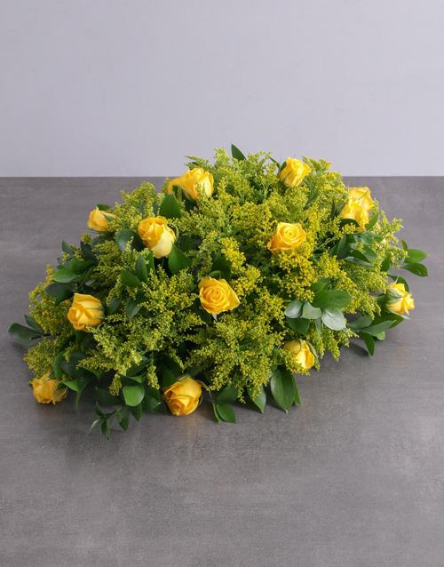 colour: Yellow Roses Sympathy Arrangement!