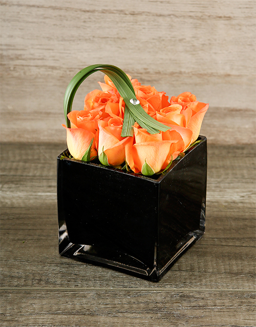 colour: Orange Roses in Black Square Vase!