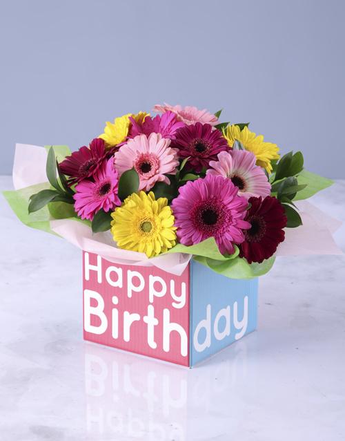 in-a-box: Happy Birthday Box of Mini Gerberas!