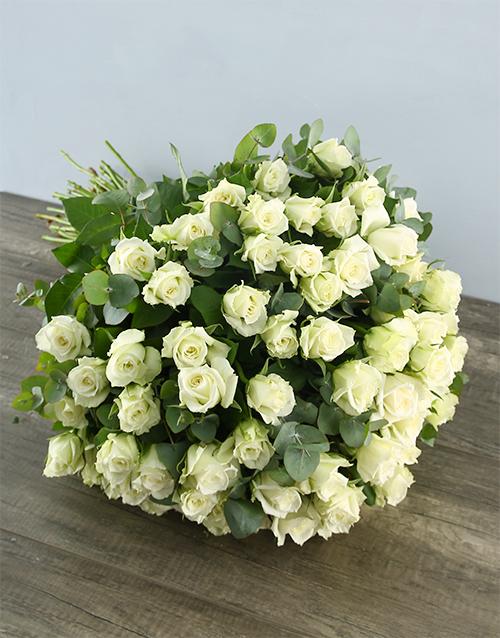 colour: White Elegance Rose Bouquet!