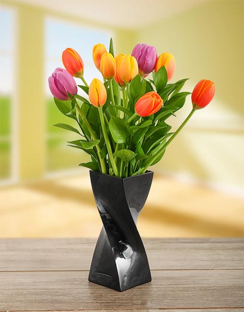 vase: Mixed Tulips in a Black Twisty Vase!