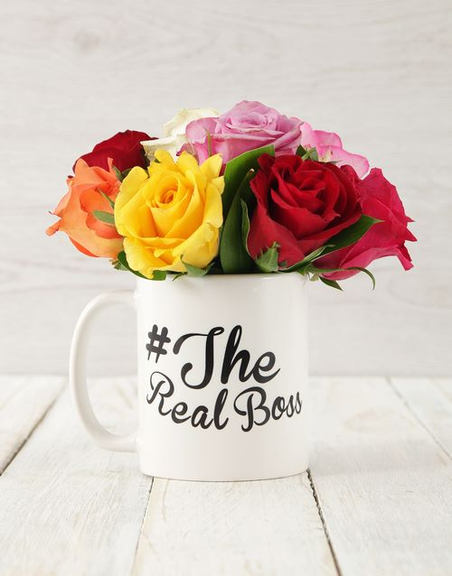 colour: The Real Boss Mixed Rose Arrangement!