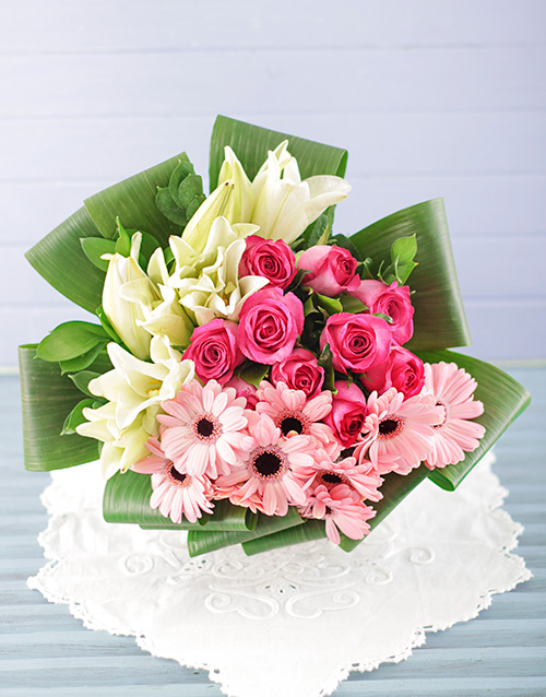 bouquets: Lily Gerbera and Rose Bouquet!