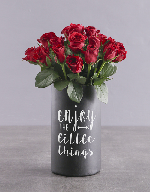 anniversary: Red Roses in Chalk Vase!