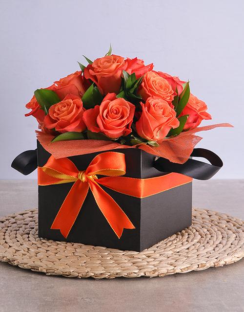 colour: Orange Roses in Black Square Box!