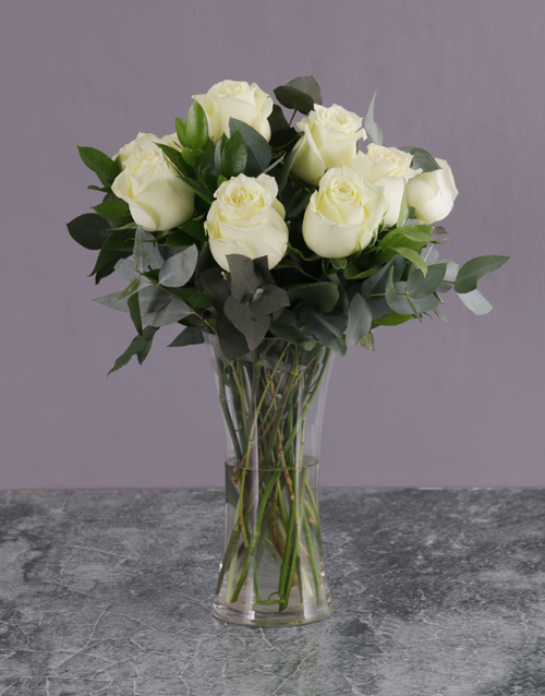 birthday: White Rose Bouquet in a Glass Vase!