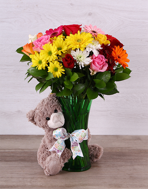 cyber-monday: Bright Mixed Bloom and Teddy Arrangement!