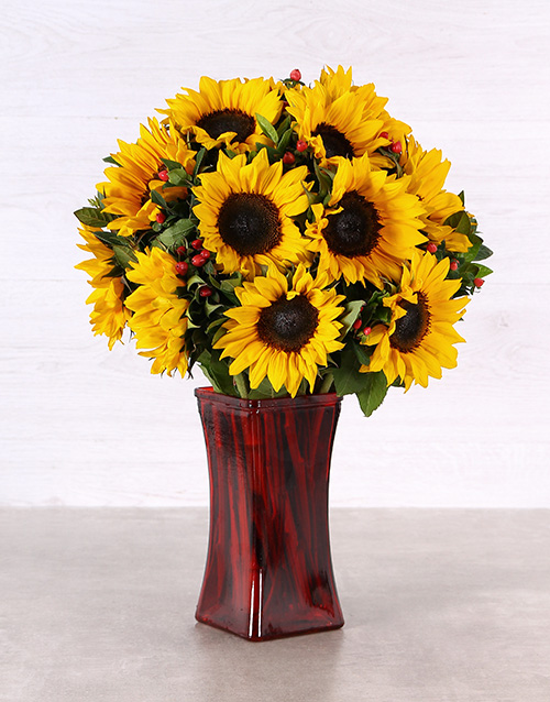 apology: Sunflowers in a Tall Red Vase!