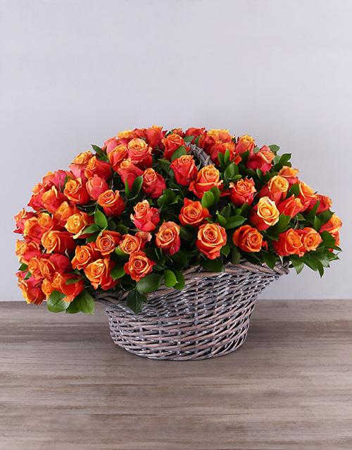 anniversary: Gray Basket of Cherry Brandy Roses!