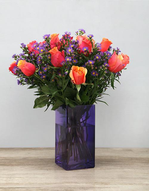 apology: Cherry Brandy Roses in Purple Vase!