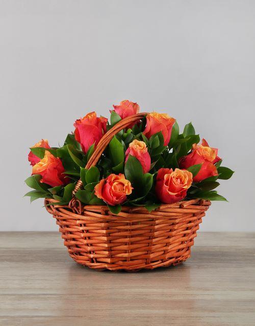baskets: Basket of Cherry Brandy Roses!