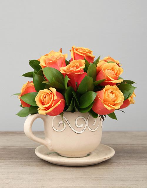 colour: Ceramic Tea cup of Cherry Brandy Roses!
