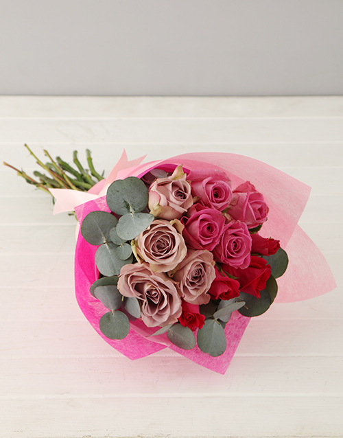 anniversary: Lilac and Pink Rose Bouquet!