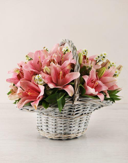 basket: Pink Asiflorum Lily Basket!