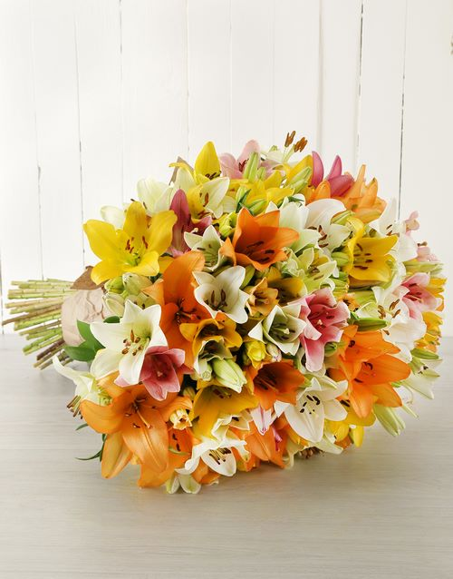 flowers: Mixed Asiflorum Lily Supreme Bouquet!
