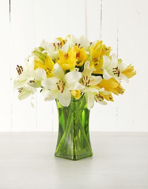 friendship: Yellow Asiflorum Lilies in Green Vase!