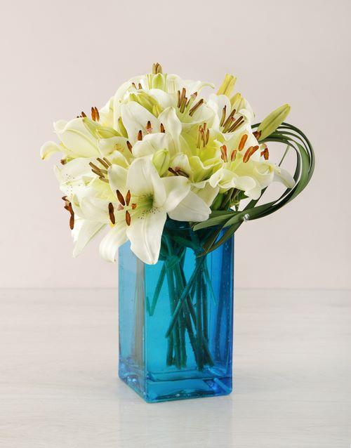 coloured-vases: White Asiflorum Lily and Leriopi Vase!