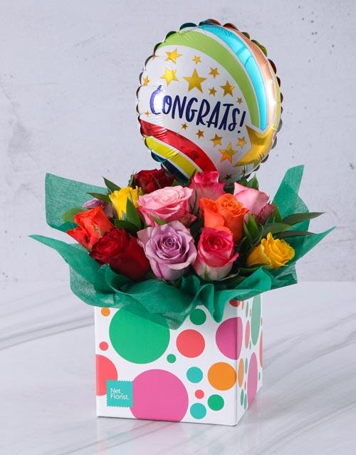 anniversary: Congratulations Mixed Rose and Balloon Box!