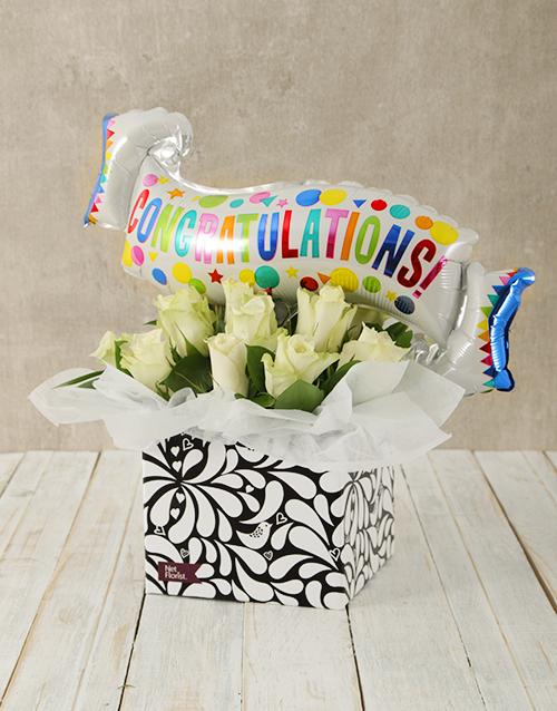 balloon: Congratulations White Rose and Balloon Box!