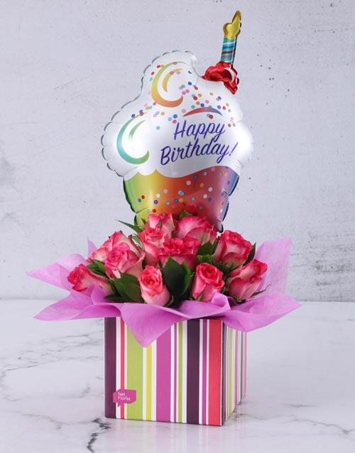 flowers: Happy Birthday Cerise Rose and Sweety Balloon Box!
