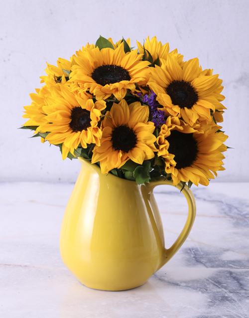 anniversary: Sunflowers in Ceramic Water Jug!