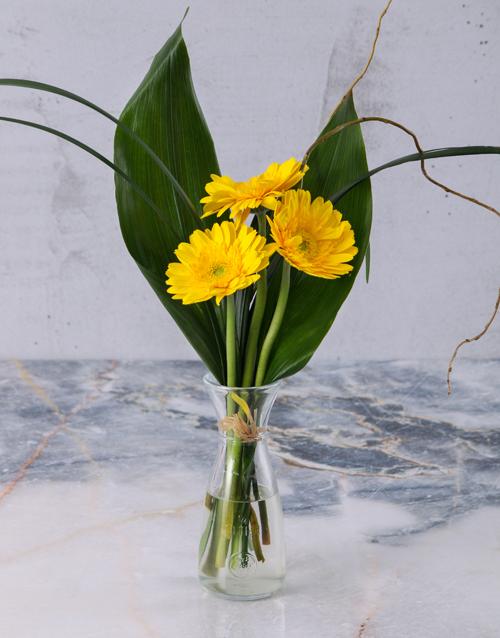 diwali: Stepped Yellow Gerberas!