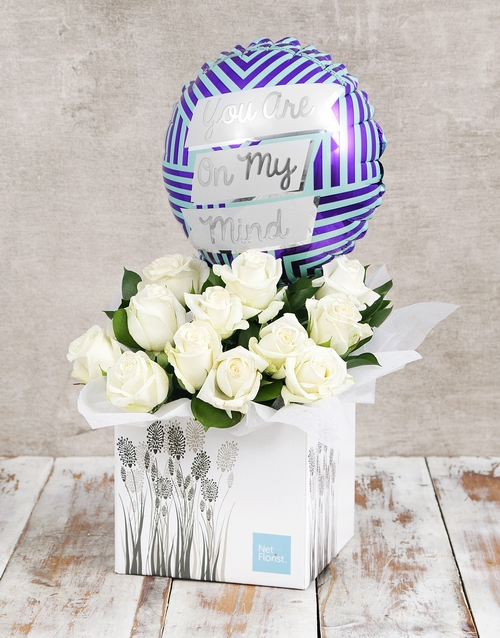 balloon: On My Mind Balloon and White Rose Box!