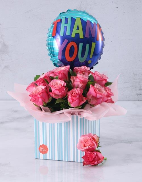 balloon: Thank You Balloon and Pink Rose Box!