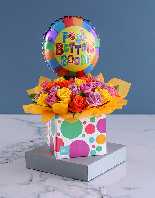 colour: Box Of Blooms Balloon And Well Wishes!