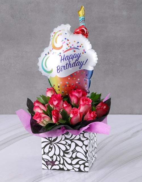 balloon: Fabulous Celebration Balloon and Rose Box!