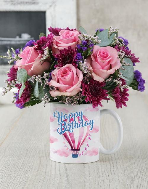 birthday: Happy Birthday Air Balloon Mug Arrangement!