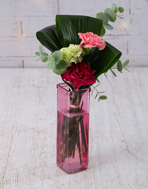 diwali: Mixed Carnations in Straight Vase!