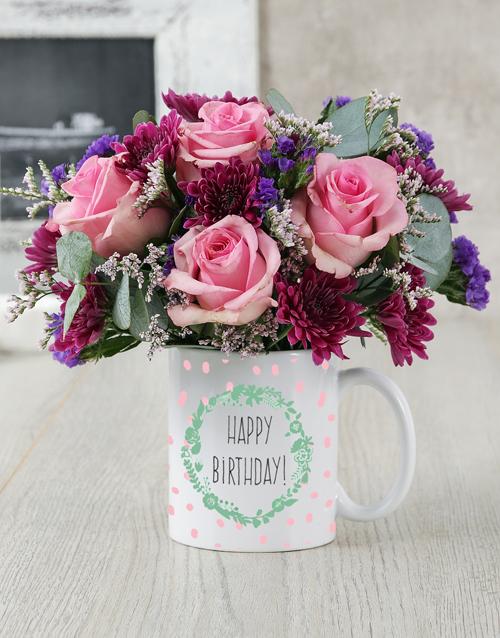 colour: Happy Birthday Garland Mug Arrangement!