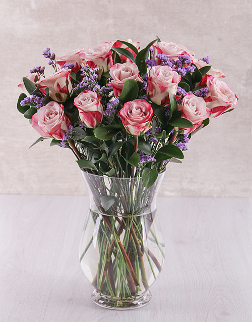 flowers: Variegated Roses and Latifolia in Bubble Foot Vase!