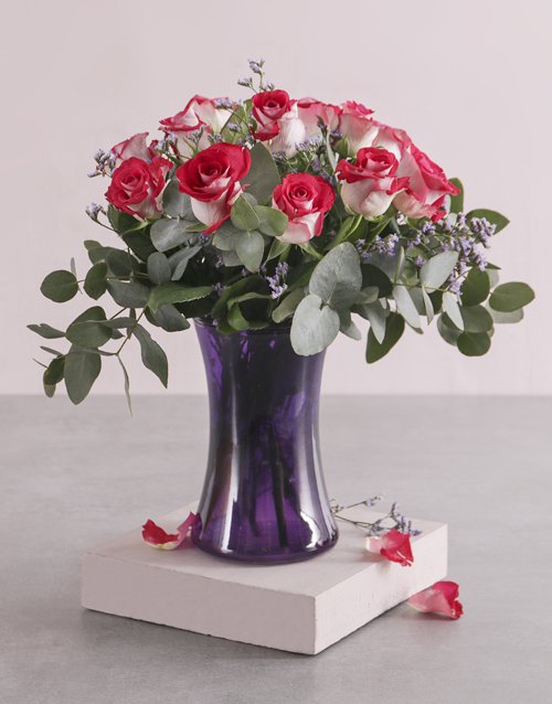 colour: Variegated Roses in Purple Lady Vase!
