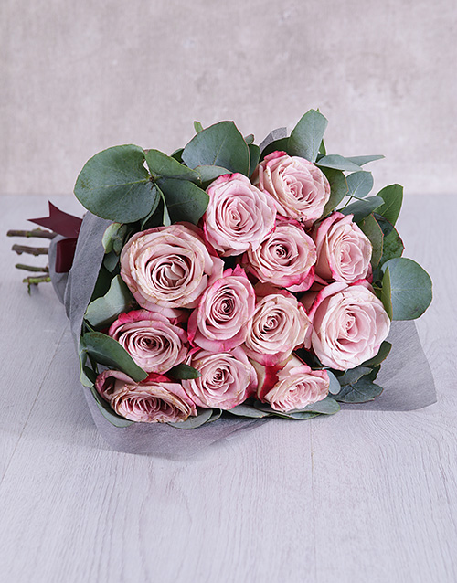 bouquets: Variegated Roses and Gum Leaves Bouquet!