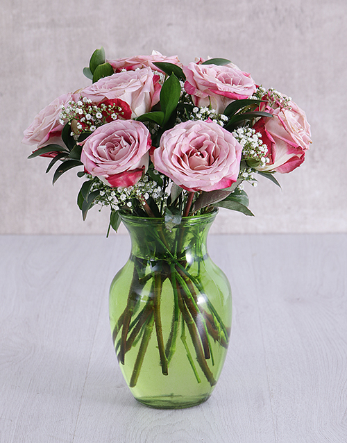 colour: Variegated Roses in Lime Green Vase!