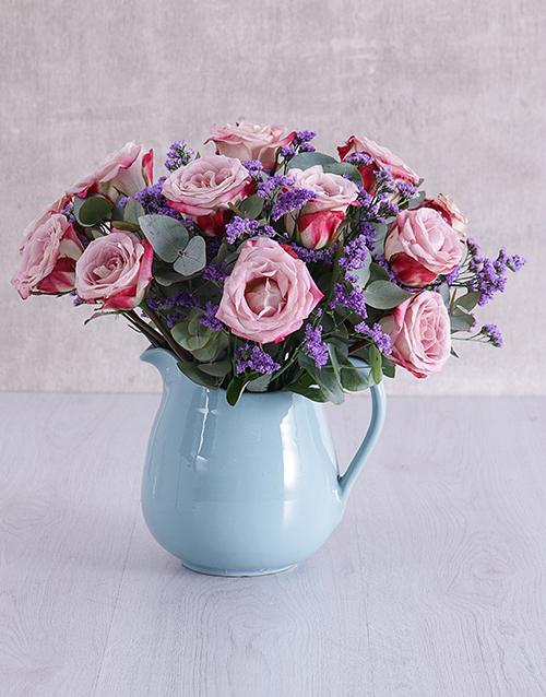 colour: Variegated Roses in Ceramic Water Jug!