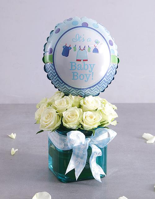 balloon: Baby Boy Rose and Balloon Arrangement!