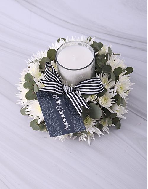 colour: White Spray Sympathy Candle!