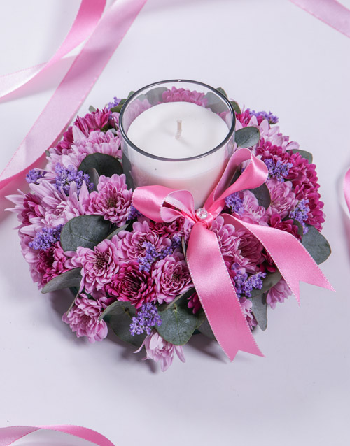 colour: Pink and Purple Spray Sympathy Candle!