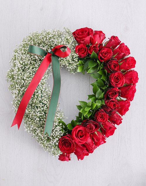 sympathy: Red Rose and Million Star Funeral Heart!