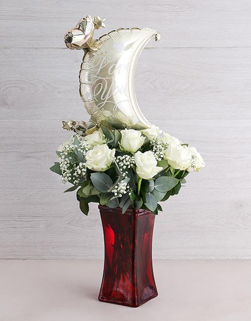 balloon: To the Moon White Rose Vase!