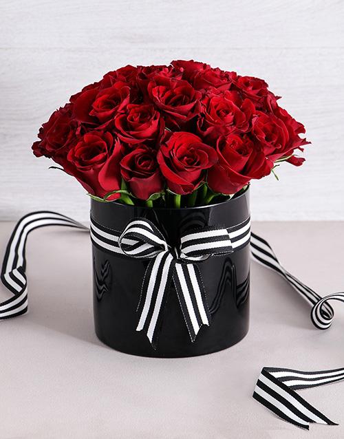 anniversary: Red Roses in Black Cylinder Vase!