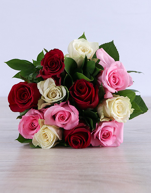 bouquets: Mixed Roses in White Craft Paper!